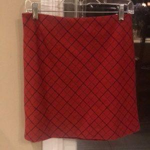 J Crew 100% Wool red plaid skirt